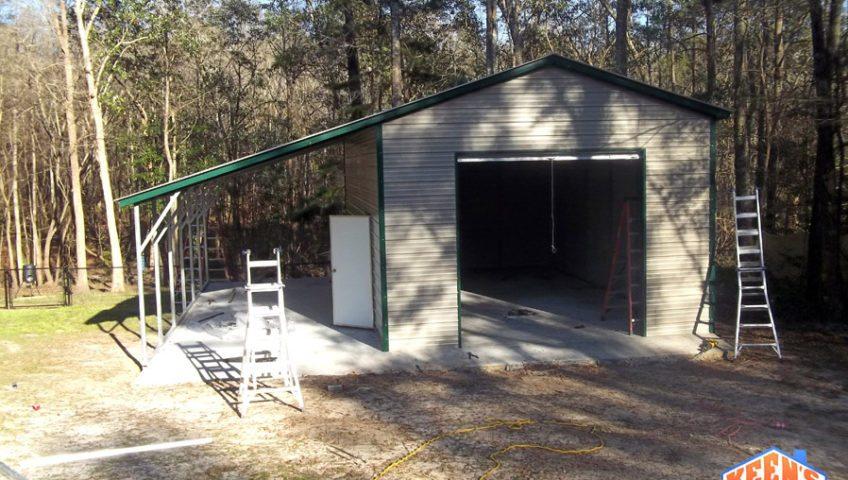 18X26 one roll up garage door with 12X26 leanto