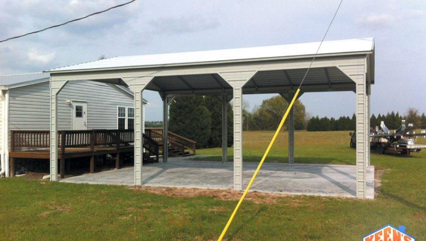 3 Bay Side Entry Carport Vertical Roof