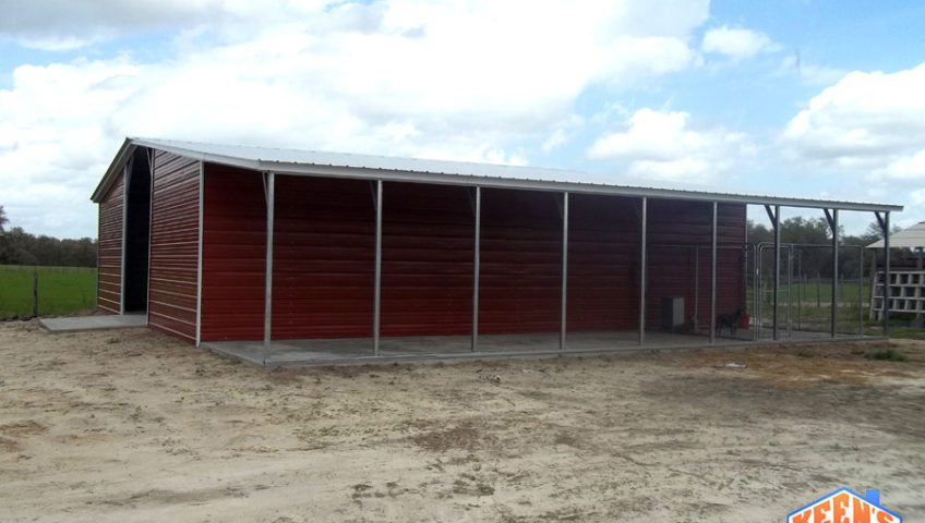 42 foot wide 12 wide lean to agricultural barn Side view