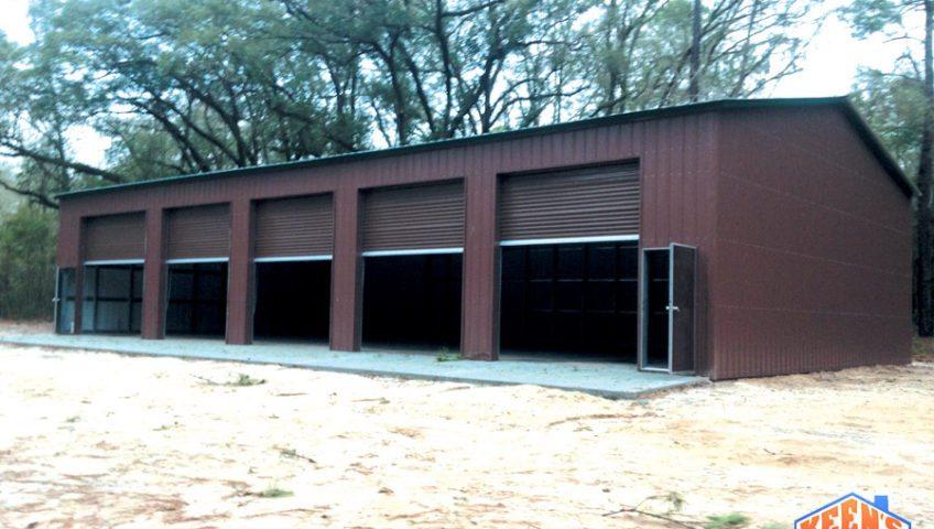 5 Bay Steel Garage with Rollup Doors