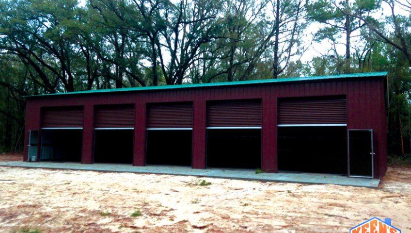 5 Bay Steel Garage with Rollup Doors View 2