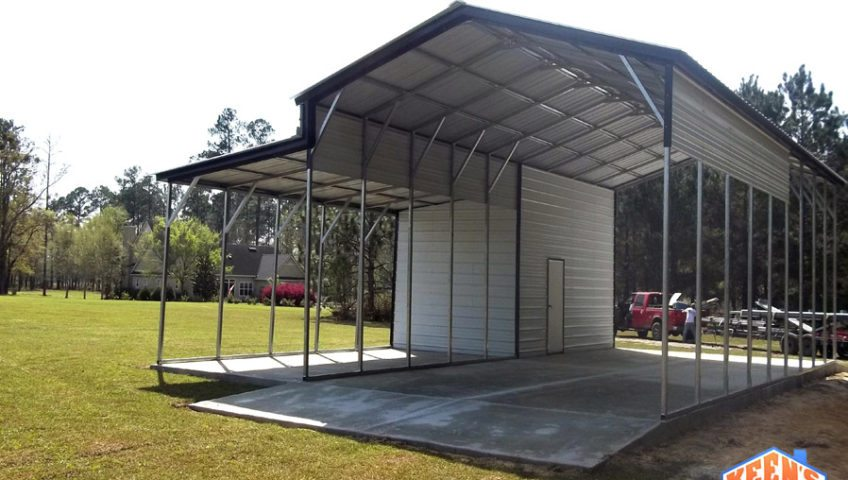 50 foot wide enclosed area with a lean to