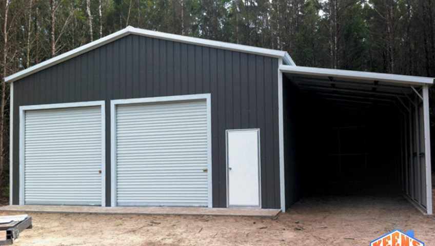 Enclosed Virtual Garage with a Lean to