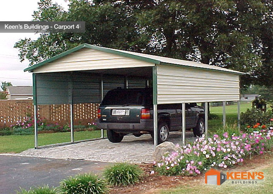 Keens Buildings 12x21 Carport Boxed Eave 2 Extra Panels on Sides Single Car 4