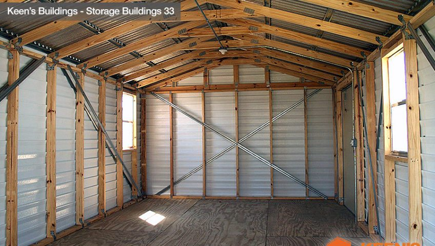 Keens Buildings 12x24 Storage Building with Josh with Roll up Door Interior View 33