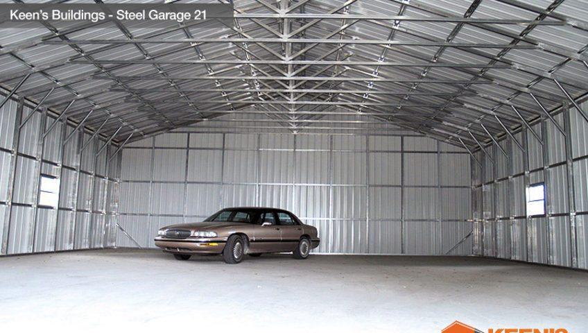 Keens Buildings Steel Garage 21 40x61 Inside View