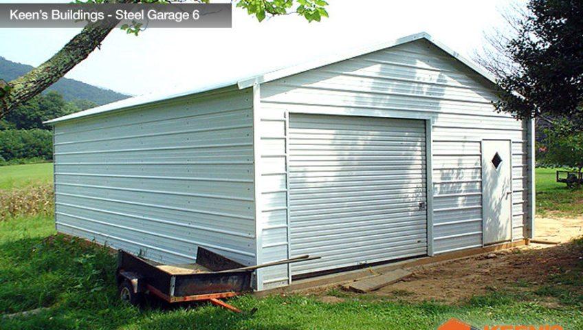 Keens Buildings Steel Garage 6 20x21 Boxed Eave Garage Model 1