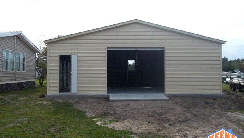 Single Bay Garage with Roll up Garage Door Door and Windows